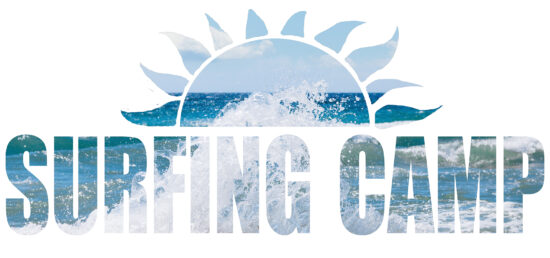 Surfing camp word, sun and sea with white background